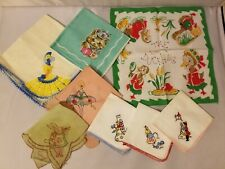 Vintage Handkerchiefs Fabric Napkins Kids Children Baby Embroidered Lot of 8