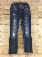 Silver Aiko Baby Boot Jeans Womens 25x30 Distressed Dark Blue Wash Stretch