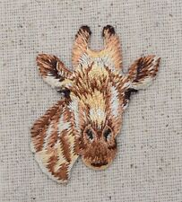 Iron On Embroidered Applique Patch Natural Tan Spotted Giraffe Head Face
