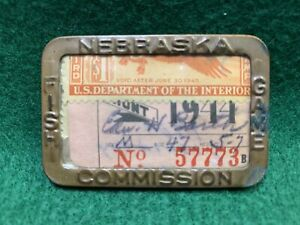 VINTAGE BRASS 1944 NEBRASKA FISH AND GAME COMMISSION HUNTING AND FISHING PERMIT