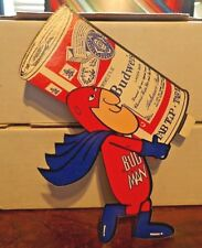 """BUD MAN """"BIG CAN"""" BUDWEISER BEER AD PROMO STICKER 9""""x 6"""" 1970's NEW NOS"""