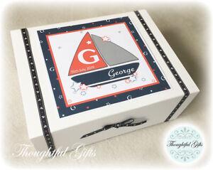 Personalised Large New Baby Boy's Nautical Keepsake Memory Box Christening Gift