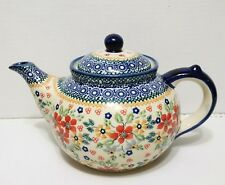 POLISH POTTERY SIGNED 1.3L / 6cup TEAPOT