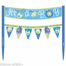 Blue Boy's CUTE CLOTHESLINE Baby Shower Party Cake Banner Decoration
