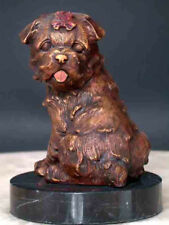 Bronze Spaniel Dog Sculpture Mounted on Marble Base