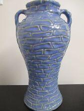 "Large Zanesville Rubble Ware Stoneware 10-3/4"" Handled Vase Blue Yellow"