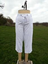 Flattering EVANS White Pull On Linen Blend Crop Trousers Size 16 BNWT