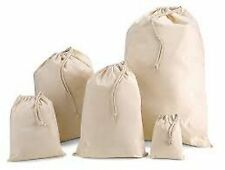 Cotton stuff/gift/party/laundry bags with draw string x small- x large - natural