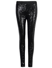 US Womens Stretchy Sequins Skinny Leggings Pants Glitter Metallic Trousers New
