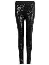 US Womens Stretchy Skinny Leggings Pants Bling Sequins Metallic Trousers Black