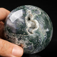 441g 69mm Natural Green Moss Agate Quartz Crystal Sphere Healing Ball Chakra