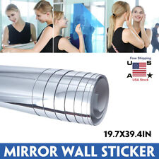 19.7x39.4 In Self Adhesive Mirror Reflective Tile Wall Stickers Film Wall Paper