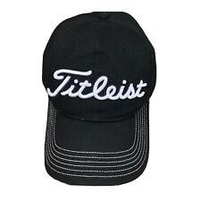Titleist Black Adjustable Baseball Cap Hat - White Stitched Brim Golf Golfing