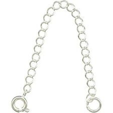 """30 Necklace EXTENDERS SILVER Plated Curb CHAIN~  3"""" Long with Spring Ring Clasp"""