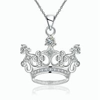 Women Girls 925 Sterling Silver Filled Cute Crown Charm Pendant Necklace Gift