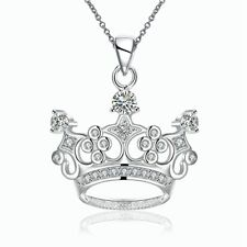 Cute Crown Charm Pendant Necklace Gift Women Girls 925 Sterling Silver Filled