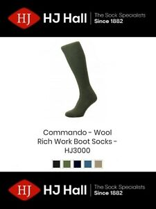 Mens HJ Hall Commando™ HJ3000 Wool Rich Outdoor Army Work Boot Socks All Sizes