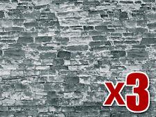 3x gris piedra natural pared de cartón - Vollmer 46055 OO/HO Decoración