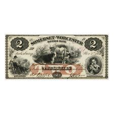 *jcr_m* USA - 1863 - 2 DOLLARS SOMERSET & WORCESTER SAVINGS BANK *UNC*