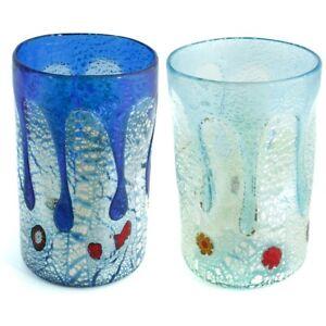 Pair of Murano Glass Drinking Artisan Tumbler Blue Silver Handmade Millefiori