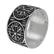 Viking Ring Vegvisir Rune Compass Norse Nordic Celtic Round Ring Antique Silver