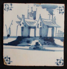 Early 18th Century Delft Fireplace Tile Blue Decorated With Houses on Water
