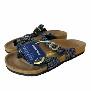BIRKENSTOCK Iridescent Shell Pattern Cross Toe Sandals Size 40 260 - Z05