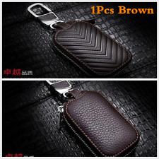 Universal Brown Genuine Leather Key Holder Men and Women Car Key Purse Key Case