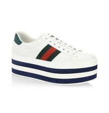 Gucci New Ace White Leather Platform Striped Sneakers Size 7.5EU/8.5US $950.00