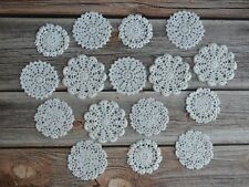 16 Hand Crochet Small Doilies Lot in bulk Country Wedding White Snowflakes