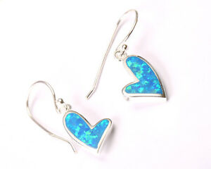 Sterling Silver and Blue Opal Offset Heart Earrings