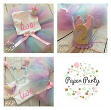 Pastel Rainbow Cake Smash / 2nd Birthday Outfit, Mini Party Crown & Cake Topper