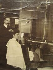 ANTIQUE AMERICAN ? BARBER BEAUTICIAN HAIR STYLIST CHAIR SHOP RARE UNISEX PHOTO