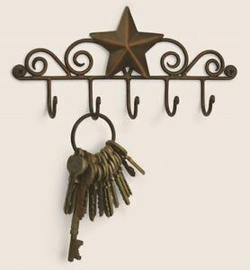 Iron Metal Decorative BARN STAR 5 Wall Mounted KEY HANGER Holder Hook
