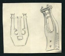 STUDY D INSTRUMENT MUSIC Drawing original of the 19eme