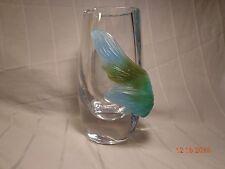 Daum France Heavy Clear Lead Crystal Vase Art Deco Cintage Blue Green Leaf