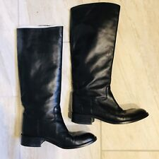 Sudini Knee High Riding Boots Womens Size 9 Black Leather Flat Italy Nordstrom