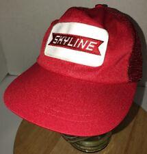 Vintage SKYLINE TRUCKING Red Trucker Hat Cap Snapback PATCH Green Underbill LOGO