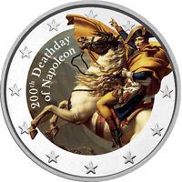 2 Euro Gedenkmünze mit 200ter Todestag Napoleon coloriert / Farbe / Farbmünze