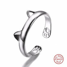 Women Girl Cute Cat Ear Claw Design 925 Sterling Silver Open Wedding Finger Ring