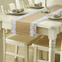 10x Natural Burlap Lace Hessian Table Runner Tablecloth Wedding Party Home Decor