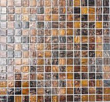 Mosaico piastrella vetro marrone bronzo muro cucina bagno: 54-1306 I 1 foglio