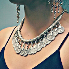 Vintage Boho Jewelry Ethnic Tribal Turkish Silver Coin Collar Statement Necklace