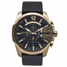 Diesel Authentic Watch DZ4344 Men's Mega Chief Chrono Gold Black Leather Strap