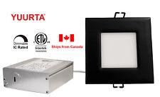 "YUURTA 4"" 10W Recessed Square Black Trim Dimmable Slim LED Downlight (Pot Light)"