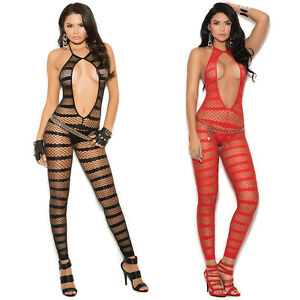 Striped Diamond Net Bodystocking Crotchless Footless Open Front Lingerie 1632