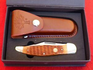 Boker Germany mint in box bone folding hunter knife & leather sheath 110273BB