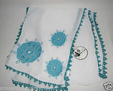 NWT Mudpie Bag Lady Scarf Turquoise Green White Floral Ball Border Rectangle $49
