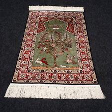 Orient Teppich Hereke 70 x 50 cm Seidenteppich Lebensbaum Vögel Wandteppich Rug