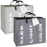 3 Section Laundry Bag Basket Canvas Colour White Dark Storage Washing Hamper Bin